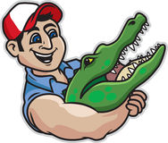 Alligator Wrestling. Vector Illustration of a man wrestling an alligator Stock Photography