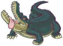 Alligatore affamato del fumetto con andar in giroe della lingua Immagini Stock Libere da Diritti