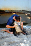 Alligatore americano che lotta nel parco nazionale dei terreni paludosi Immagini Stock Libere da Diritti