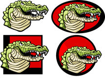 alligatorlogomaskot royaltyfri illustrationer