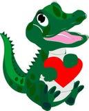 alligatorn behandla som ett barn att älska för hjärta vektor illustrationer
