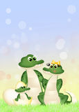 Alligators. Funny illustration of alligators in the meadow vector illustration
