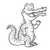Alligatortecknad film - linje dragen vektor Arkivfoto