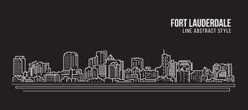 Allineamento dei fabbricati di paesaggio urbano progettazione dell'illustrazione di vettore di arte - città del Fort Lauderdale illustrazione di stock