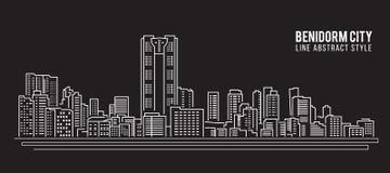 Allineamento dei fabbricati di paesaggio urbano progettazione dell'illustrazione di vettore di arte - città di Benidorm Fotografia Stock