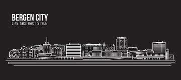 Allineamento dei fabbricati di paesaggio urbano progettazione dell'illustrazione di vettore di arte - città di Bergen illustrazione vettoriale