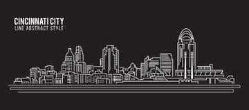 Allineamento dei fabbricati di paesaggio urbano progettazione dell'illustrazione di vettore di arte - città di Cincinnati Fotografia Stock Libera da Diritti