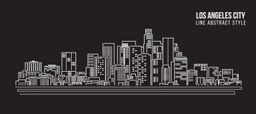 Allineamento dei fabbricati di paesaggio urbano progettazione dell'illustrazione di vettore di arte - città di Los Angeles illustrazione di stock
