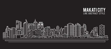 Allineamento dei fabbricati di paesaggio urbano progettazione dell'illustrazione di vettore di arte - città di Makati Fotografia Stock Libera da Diritti