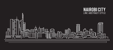 Allineamento dei fabbricati di paesaggio urbano progettazione dell'illustrazione di vettore di arte - città di Nairobi illustrazione di stock