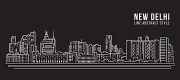 Allineamento dei fabbricati di paesaggio urbano progettazione dell'illustrazione di vettore di arte - città di Nuova Delhi illustrazione vettoriale