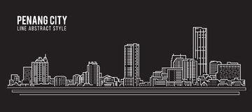 Allineamento dei fabbricati di paesaggio urbano progettazione dell'illustrazione di vettore di arte - città di Penang illustrazione di stock