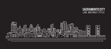 Allineamento dei fabbricati di paesaggio urbano progettazione dell'illustrazione di vettore di arte - città di Sacramento illustrazione di stock