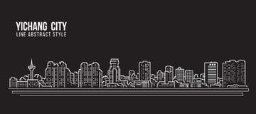 Allineamento dei fabbricati di paesaggio urbano progettazione dell'illustrazione di vettore di arte - città di Yichang Immagini Stock