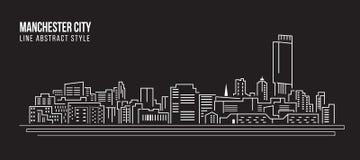 Allineamento dei fabbricati di paesaggio urbano progettazione dell'illustrazione di vettore di arte - Manchester City Immagine Stock