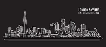 Allineamento dei fabbricati di paesaggio urbano progettazione dell'illustrazione di vettore di arte - orizzonte di Londra illustrazione di stock