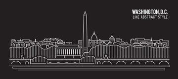Allineamento dei fabbricati di paesaggio urbano progettazione dell'illustrazione di vettore di arte - Washington, D C città royalty illustrazione gratis
