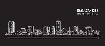Allineamento dei fabbricati di paesaggio urbano progettazione dell'illustrazione di vettore di arte - città di Babolsar Immagine Stock