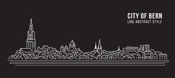 Allineamento dei fabbricati di paesaggio urbano progettazione dell'illustrazione di vettore di arte - città di Berna royalty illustrazione gratis