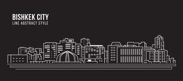 Allineamento dei fabbricati di paesaggio urbano progettazione dell'illustrazione di vettore di arte - città di BiÅ¡kek illustrazione vettoriale