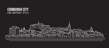 Allineamento dei fabbricati di paesaggio urbano progettazione dell'illustrazione di vettore di arte - città di Edimburgo royalty illustrazione gratis