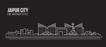Allineamento dei fabbricati di paesaggio urbano progettazione dell'illustrazione di vettore di arte - città di Jaipur illustrazione di stock
