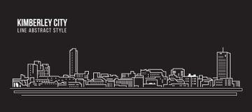 Allineamento dei fabbricati di paesaggio urbano progettazione dell'illustrazione di vettore di arte - città di Kimberley Immagine Stock Libera da Diritti