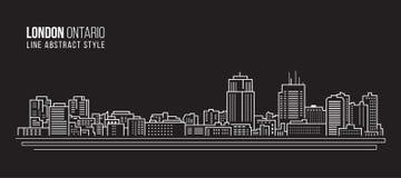 Allineamento dei fabbricati di paesaggio urbano progettazione dell'illustrazione di vettore di arte - città di Londra, Ontario Ca illustrazione di stock