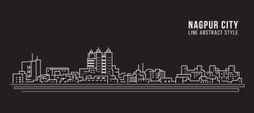 Allineamento dei fabbricati di paesaggio urbano progettazione dell'illustrazione di vettore di arte - città di Nagpur illustrazione di stock