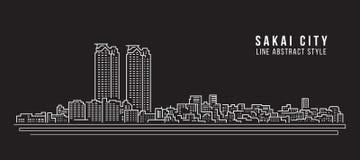Allineamento dei fabbricati di paesaggio urbano progettazione dell'illustrazione di vettore di arte - città di Sakai Fotografie Stock Libere da Diritti