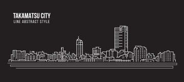 Allineamento dei fabbricati di paesaggio urbano progettazione dell'illustrazione di vettore di arte - città di Takamatsu Fotografia Stock Libera da Diritti
