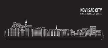 Allineamento dei fabbricati di paesaggio urbano progettazione dell'illustrazione di vettore di arte - città triste di Novi Immagini Stock Libere da Diritti