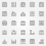Allineamento dei fabbricati icone di vettore royalty illustrazione gratis