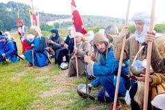 Allineamento dell'esercito del crociato per la preghiera del mattino Fotografie Stock