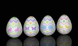 Allineamento dell'uovo di Pasqua Sul nero illustrazione vettoriale