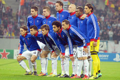 Allineamento di FC Basel rappresentato prima del gioco della lega di campioni di UEFA Immagini Stock