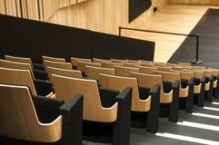 Allineamento di legno del sedile in sala Immagini Stock Libere da Diritti