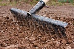 Allineamento di suolo nell'orto con il rastrello Fotografia Stock