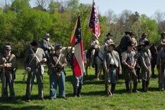 Allineamento ri--enactors della guerra civile per cerimonia di apertura Fotografia Stock