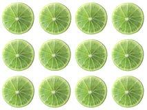 Allineamento succoso di forma del cerchio della fetta della calce isolato su fondo bianco fotografie stock libere da diritti