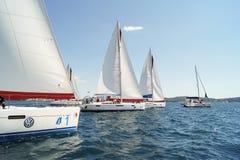 Allineato in una barca di fila Fotografia Stock Libera da Diritti