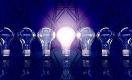 Allini da sette lampade, una lampada splende nei precedenti elettrici Immagini Stock