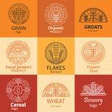 Allini il grano, i chicchi, il logo del cereale ed i segni messi Fotografie Stock Libere da Diritti