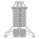 Allini l'acustica di concerto di matrice sull'illustrazione della sospensione della capriata Fotografie Stock Libere da Diritti