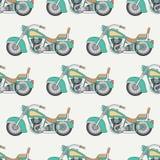 Allini la bici senza cuciture piana del classico del motociclo del modello di colore di vettore Retro leggendario Stile del fumet illustrazione vettoriale