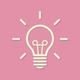 Allini la siluetta della lampadina su fondo rosa Immagini Stock Libere da Diritti