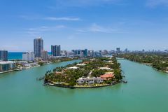 Allison Island in Miami Beach. Aerial of Allison Island and Collins Avenue in Miami Beach Florida royalty free stock photography
