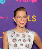 Allison Williams. Stunning actress Allison Williams wearing a gown from Christian Dior, arrives on the red carpet for the New York premiere of the third season royalty free stock photos