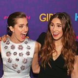 Allison Williams and Zosia Mamet. Television actresses Allison and Zosia Mamet arrive on the red carpet for the New York premiere of the third season of the hit royalty free stock images