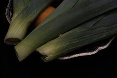 Allium ampeloprasum Leek wciąż Jarzynowy życie zdjęcie royalty free